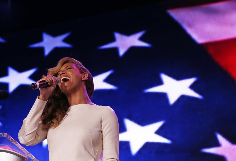 Beyonce performs the National Anthem during the halftime show press conference ahead of the NFL's Super Bowl XLVII in New Orleans, Louisiana, January 31, 2013. The San Francisco 49ers will meet the Ba