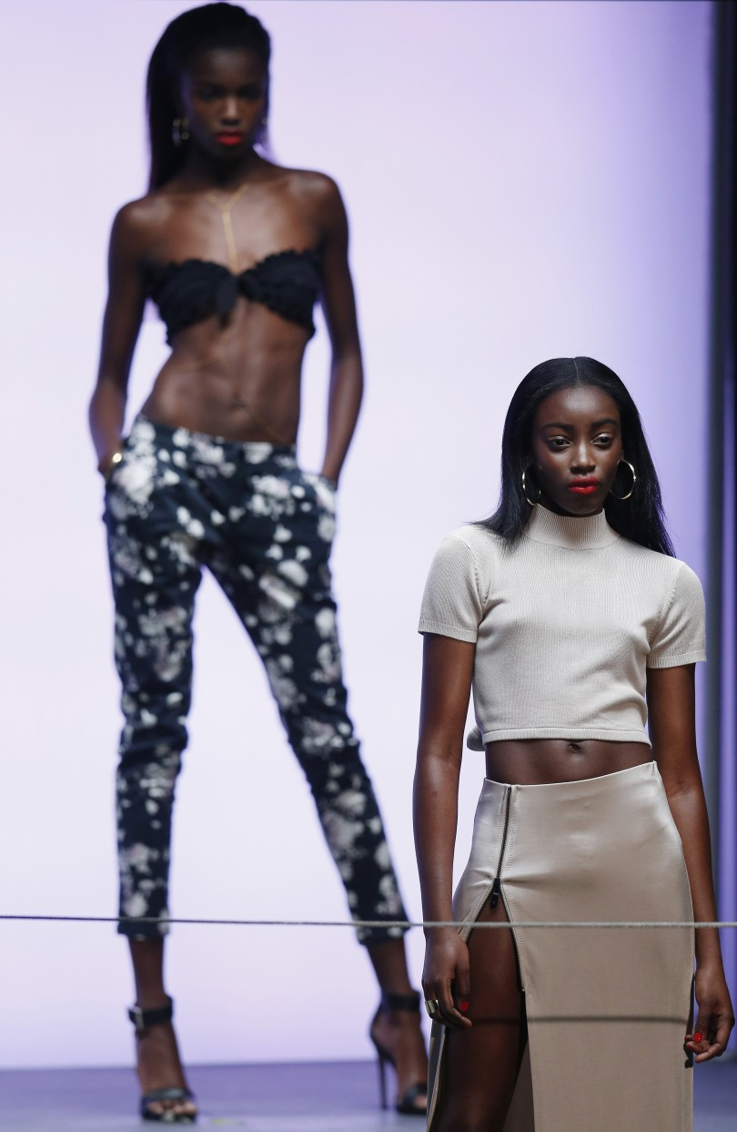 Models from the Rihanna for River Island Fashion Show