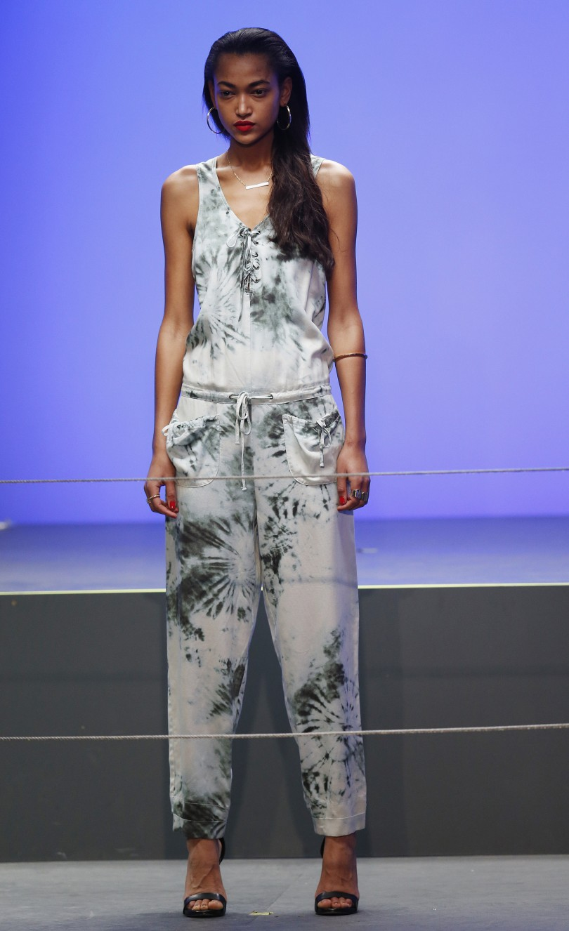 A model  from the Rihanna for River Island Fashion Show