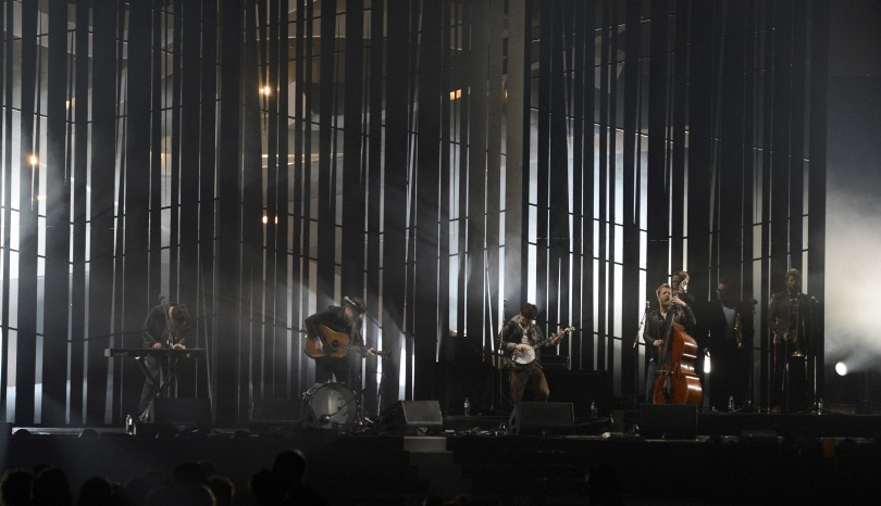 Pop group Mumford & Sons performs during the BRIT Awards, celebrating British pop music, at the O2 Arena in London February 20, 2013.